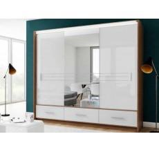 Szafa Amsterdam 250 w białym połysku z lustrem